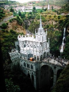 Santuario de las Lajas, Colombia (thanks Marisa!) i love the little house especially.