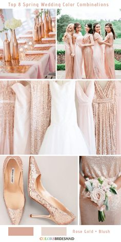Glittering Rose Gold and Blush Spring Wedding Color Inspirations for 2019