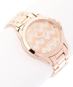 Rose Gold Zigzag Bracelet Watch