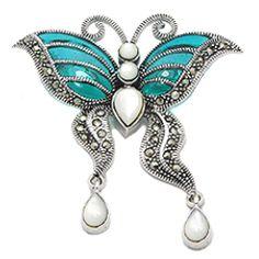 Brosa fluture - bijuterie din argint cu marcasite, scoica si email. http://www.argintarie.ro/Brosa-argint-fluture-p-17106-c-359-p.html