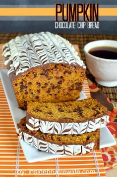 Pumpkin Chocolate Chip Bread - pumpkin bread with chocolate chips and chocolate…
