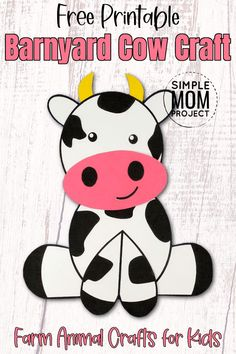 Want to share in the fun of some awesome farm animal crafts with your kids? Here's a super simple barnyard cow craft which is incredibly popular with toddlers, preschoolers & kindergartners. This free printable farm cow craft is an awesome way to add some excitement to learning the Letter C or even to decorate the class room at kindergarten or at home. So have some fun with farm animal crafts by trying this cow craft with your kids today! Farm Animal Crafts, Farm Animals, Easy Crafts, Crafts For Kids, Cow Craft, Cute Cows, Pink Cards, Farm Theme, Class Room