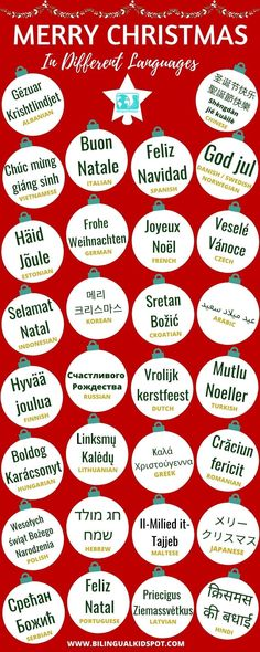Merry Christmas in 30 Different Languages Language Study, Learn A New Language, Learning Spanish, Fun Learning, Christmas Gifts For Kids, Merry Christmas, Noel French, Teaching Calendar, Celebration Around The World