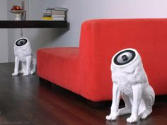 Woofers--Speaker system consisting of two headless dogs. How clever!! Now turn up the music and write the next check out to your kids' therapist.