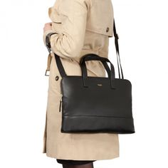 Reeves Slim Brief in Black | KNOMO | Either carry by the leather top handles, or attach the full leather shoulder strap and wear across the body