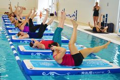 Not your average cardio or yoga training. See the benefits of the RAVE Aqua Power Mat and innovative pool workouts for everyone! Coming to a pool near you. Pool Mat, Water Trampoline, Pool Workout, Mat Exercises, Paddle Boarding, Summer Fun, Pilates, Cardio, Rave