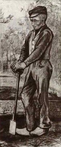 Farmer Leaning on his Spade, 1881, Vincent van Gogh Medium: pencil on paper