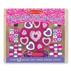 Melissa & Doug Shimmering Hearts Wooden Bead Set: 45 Beads and 3 Laces for Jewelry-Making, Multicolor Photo Table, Jewelry Making Kits, Jewellery Making, Thing 1, Melissa & Doug, Bead Kits, Pretty Necklaces, Coordinating Colors, Craft Kits