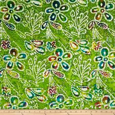 Indian Batik Caledonia Garden Large Floral  Green from @fabricdotcom  From Textile Creations, this Indian batik is perfect for quilting, apparel and home decor accents. Colors include various shades of green, white, pink, turquoise and purple.