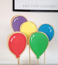 balloons & bicycle birthday cookies