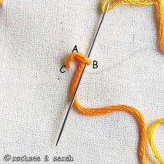 How to do a sorbello stitich. Tutorial by Sara's Hand Embroidery Tutorials.