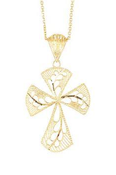 14K Yellow Gold Filigree Cross Pendant Necklace