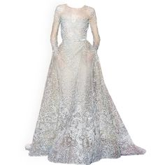 satinee.polyvore.com - Elie Saab Couture ❤ liked on Polyvore featuring dresses, gowns, long dresses, dolls, baby doll dress, doll dress, long white evening dress, white ball gowns und couture gowns