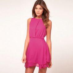 f3a408b2d050 Платье шифон милый Mini контейнер, лето женщины приталенный туника талия,  белый, ярко розовый, m, l, xl купить на AliExpress