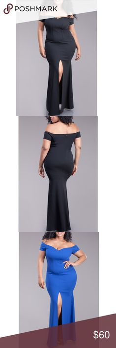 Plus Black Off Shoulder Slit Skirt Mermaid Dress Black Mermaid Maxi Dress. Featuring an off-shoulder sweetheart neckline with short sleeves, mermaid flared skirt with a thigh high front slit. Zipper back closure. Made of soft stretchy fabric. Polyester/Spandex.  Size 1X 14/16: Bust 36-41 Waist 32-35 Hips 40-43 Size 2X 18/20: Bust 42-45 Waist 36-39 Hips 44-47 Size 3X 22/24: Bust 46-49 Waist 40-43 Hips 48-51  Size chart provided as a guidance. Dresses Maxi