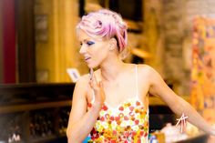 Llanelli Alice in Wonderland Vintage Fashion Show. Haribo outfit. sweets pink hair updo candy photoshoot