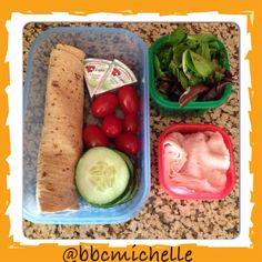 Lunch idea - 21 day FIX - WrapIT (it's 90 cal) - (1 yellow), 2 wedges laughing cow (use 1 if using FoldIT) (1 blue), spring mix, cucumbers, grape tomatoes (2 green) and 6 slices of turkey (1red).  Want to know more about the 21 day FIX?  Real food + Daily exercise = Real results! Contact me at coachmichelle12@gmail.com!