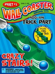 Wall Coaster #1 Add-On Trick - Crazy Stairs! by Active Products. $7.56. 7 Inch Long Crazy Stairs slows marbles down. Marbles move side to side as they descend.. For children 5 years and older. Add on piece for Wall Coaster Starter and/or Extreme Stunt Kit. Kit packaging measures 4 x 2 x 6 inches.. Crazy Stairs! Is a fun add-on trick for any Wall Coaster marble run kit. Apply to the wall as with other Wall Coaster pieces, and watch the marble descend. The Crazy Stairs is ...