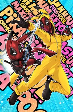 Deadpool and Pikachu Deadpool Pikachu, Deadpool Art, Deadpool Funny, Pikachu Art, Deadpool Tattoo, Deadpool Quotes, Deadpool Costume, Deadpool Movie, Deadpool Painting