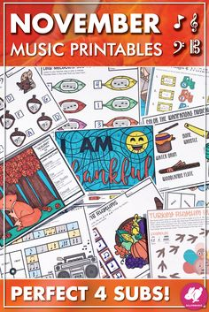 Fun November music lessons plan ideas for kids with Thanksgiving music activities for elementary general music, band, orchestra, choir, and piano classes! Worksheets include treble, bass, and alto clef, rhythms, and solfege! Students love the Fall color-by-note pages and spinner board games! Perfect printables for music sub plans and the coloring pages look great on bulletin boards! #sillyomusic