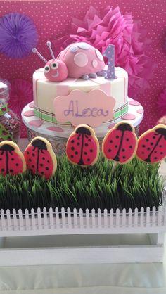 Ladybug cake and cupcakes at a 1st birthday party Birthday Party!  See more party ideas at CatchMyParty.com!