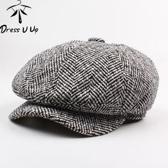 Navy Blue Fashion Classic Striped Octagonal Hat Autumn and Winter Match All Black Curved Skull Cap Art Painter Bailey Hat Good dress