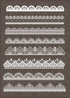 Clip Art Lace Border, Lace Borders Clipart Pack with Digital Lace Border for Scrapbooking, Invitations - EPSV Vector EPSG and Photohshop Brushes Lace Drawing, Mandala Drawing, Mandala Tattoo, Lotus Mandala, Lace Patterns, Embroidery Patterns, Stylo Art, Henne Tattoo, Silkscreen