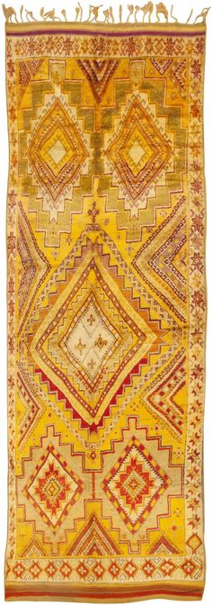 Basement writing office rug... Exquisitely colored & formally detailed vintage Moroccan rug (c.1950). Really, it's a runner! 5'8 x 15'7. via Nazmiyal Collection