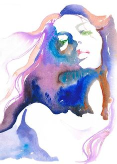 Watercolor Fashion Illustration by Cate Parr. Art And Illustration, Watercolor Illustration, Watercolor Paintings, Watercolor Portraits, Watercolours, Portrait Illustration, Abstract Watercolor, Watercolor Water, Portrait Paintings