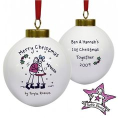 Personalised Purple Ronnie Christmas Couple Bauble  from Personalised Gifts Shop - ONLY £10.99