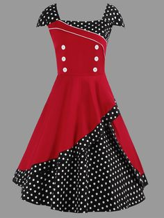 A Line Polka Dot Plus Size Vintage Dress In Red,3xl | Twinkledeals.com