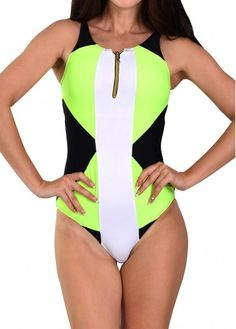 ba0fa3527ee V Neck Color Block Sleeveless One Piece Swimwear on sale only US 22.78 now