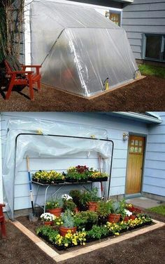 convertible greenhouse - 9 pieces of 1-inch PVC tubing and 6 elbow pieces, painters plastic drop cloth, and clamps