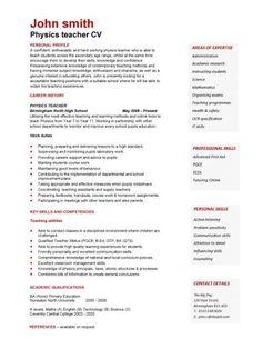 samples of cv for teachers