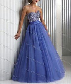 Royal Blue Ball Gown Sweetheart Floor Length Beaded Prom Dress on Etsy, $169.99