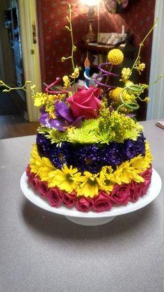 Birthday Cake with mini coronations Cake made from fresh flowers