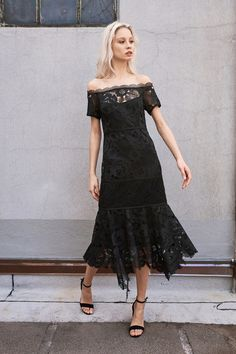 Fun and Chic Black Lace Dress with an Off the Shoulder Neckline and Kerchief Style Hemline by Nanette Lepore, Look #7
