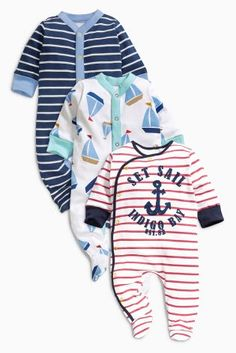 Buy Navy Nautical Sleepsuits Three Pack (0mths-2yrs) from the Next UK online 926e66c28145