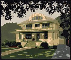"Laura Wilder ""house portraits"" American Arts & Crafts Style homes."