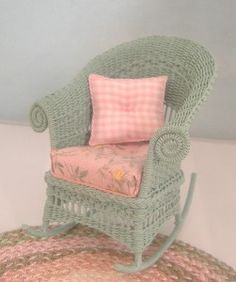 One Inch Scale Dollhouse Miniature Handmade Wicker Rocking Chai