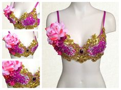 Hot Pink and Gold Sequinned Bra Top for Music Festival Rave EDM Disco Dance by RepublicOfRave on Etsy