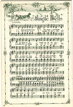 """Jingle Bells"" ~ decorative Christmas sheet music for crafting ~ several more songs at click-thru | via pemq @ Flickr"