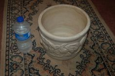 "9"" Vintage HEAVY Art Pottery Antique White-Very Nice Garden Planter ~Flower Pot"