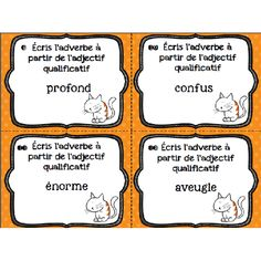 Cartes à tâches: les adverbes Cycle 3, French Grammar, Teaching French, Task Cards, Kids House, Elementary Schools, Classroom, Study, Grammar Games