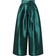 Tome Taffeta Karate Pant (11,575 MXN) ❤ liked on Polyvore featuring pants, capris, green, wide pants, highwaist pants, high waisted trousers, patch pants and highwaisted pants