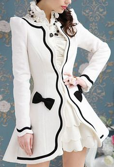 White/Black Bow Coat