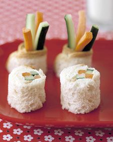 """""""Sushi"""" Surprise! Bread, cucumber, carrot, cream cheese and sour cream. Great after school snack"""