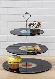 You Spin Me Right Pound Cake Stand. Spin some tunes on the kitchen turntable as you arrange your chart-topping confections on this tiered dessert stand! #multi #modcloth