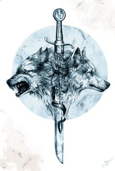 Two wolves and a sword tattoo . - Two wolves and a sword tattoo … # wolves - Wolf T-shirt, Dire Wolf, Wolf Tattoo Design, Tattoo Designs, Wolf Print Tattoo, Wolf Design, Tattoo Drawings, Body Art Tattoos, Sleeve Tattoos