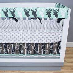 Frozen Forest Gray Rail Guards Crib Bedding